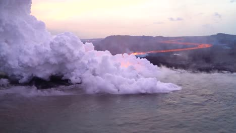Very-Good-Aerial-Of-The-Kilauea-Volcano-On-Hawaii-Eruption-With-Very-Large-Lava-Flow-Entering-Ocean-With-Smoke-1