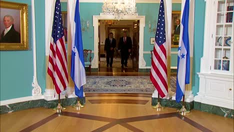 Secretary-Of-State-Mike-Pompeo-Meets-With-Honduran-President-Juan-Orlando-Hernandez-At-The-Us-Department-Of-State