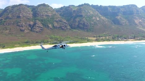 Airtoair-Aerial-Video-Of-Uh60-Seahawk-Helicopter-Flying-Off-The-Coast-Of-Oahu-Hawaii
