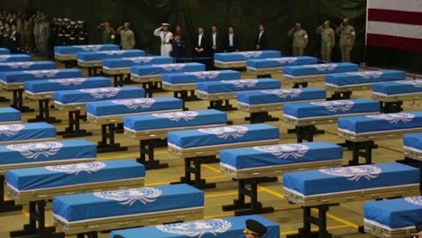 The-United-Nations-Command-Conducts-A-Ceremony-In-Honor-Of-Repatriated-Remains-Returned-By-The-Democratic-People\-S-Of-Korea-Believed-To-Be-Those-Of-Us-Service-Members-Who-Have-Been-Unaccounted-For-Since-The-Korean-War