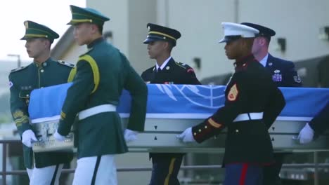 The-United-Nations-Command-Conducts-A-Ceremony-In-Honor-Of-Repatriated-Remains-Returned-By-The-Democratic-People-S-Of-Korea-Believed-To-Be-Those-Of-Us-Service-Members-Who-Have-Been-Unaccounted-For-Since-The-Korean-War-1