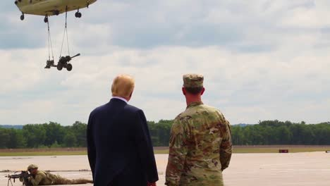 Us-President-Donald-J-Trump-Greets-Commanders-And-Watches-An-Aerial-Display-During-His-Visit-To-Fort-Drum-Ny-To-Sign-The-2019-National-Defense-Authorization-Act-2