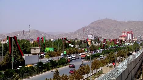 Flags-Fly-High-Over-Afghan-Parliament-Building-In-Kabul-Afghanistan