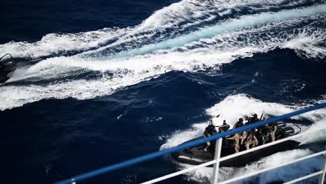 Jordanian-Boats-Pull-Up-To-A-Ship-For-A-Visit-Board-Search-And-Seizure-Exercise-On-The-Red-Sea