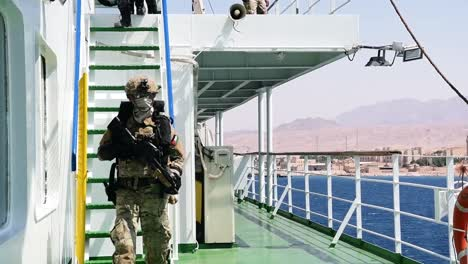 American-And-French-Troops-Board-A-Ship-In-The-Red-Sea-For-A-Visit-Board-Search-And-Seizure-Exercise