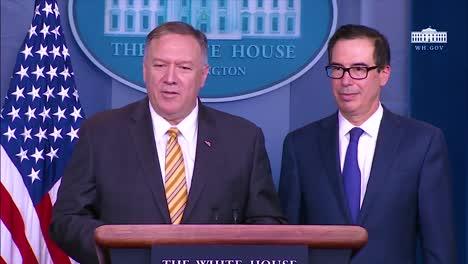 El-Secretario-Del-Tesoro-De-Los-Estados-Unidos-Steven-Mnuchin-Y-El-Secretario-De-Estado-De-Los-Estados-Unidos-Mike-Pompeo-Discuten-Las-Diferencias-De-Política-Exterior-Que-Tienen-Con-El-Asesor-De-Seguridad-Nacional-John-Bolton