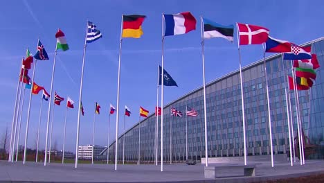 2019-Nato-Flags-And-Exterior-Of-Nato-Building-Headquarters-During-Defence-Ministers-Meeting