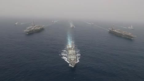 Aerial-Of-Uss-Abraham-Lincoln-And-John-Stennis-Carrier-Strike-Group-Moving-Across-The-Mediterranean-Sea-As-A-War-Strike-Force