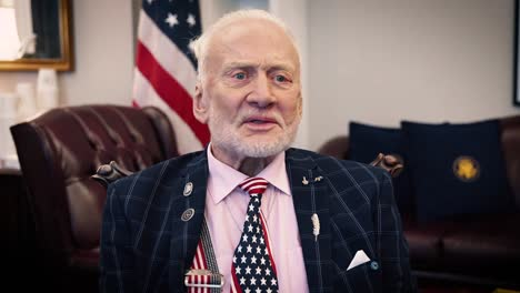 Buzz-Aldrin-Is-Interviewed-On-The-50Th-Anniversary-Of-The-Moon-Landing-Recalling-The-Experience-As-Well-As-Advising-Future-Astronauts