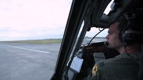 Footage-Is-Shot-From-The-Cockpit-Of-A-Usaf-Plane-Showing-The-Pilot-As-The-Aircraft-Takes-Off