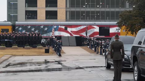 Preparations-Are-Made-To-Remove-President-Bush-S-Casket-From-A-Train-At-Texas-College-Station