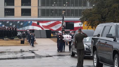 President-Bush-S-Casket-Is-Marched-To-A-Hearse-At-Texas-College-Station