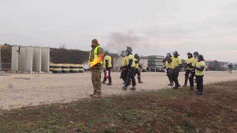 Soldiers-Of-Kfor-Multinational-Battle-Groupeast-Take-Part-In-Crowd-Riot-Control-(Crc)-Training-At-Camp-Marechal-De-Lattre-De-Tassigny-Kosovo-On-December-8-2018
