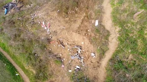 Drone-Aerial-Shot-Over-The-Kobe-Bryant-Helicopter-Crash-Site-Disaster-Near-Calabasas-California
