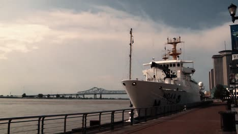 The-Noaa-Ship-Thomas-Jefferson-Leaves-A-Harbor-And-Lowers-An-Instrument-For-Oceanographic-Observation-In-The-Gulf-Of-Mexico-As-Part-Of-The-Deepwater-Horizon-Bp/Gulf-Oil-Spill-Response