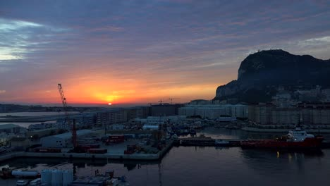 Gibraltar-Rock-Sun-Peeping-Up-Above-Horizon