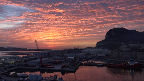 Gibraltar-Rock-With-Bright-Sunrise-Clouds