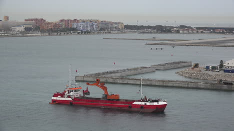 Gibraltar-Red-Ship-With-Dredge