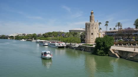 Seville-Guadalquivir-River-With-Boat