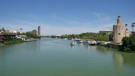 Seville-Guadalquivir-River-With-Motor-Boat