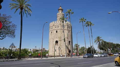 Seville-Torre-Del-Oro-And-Palm-Trees