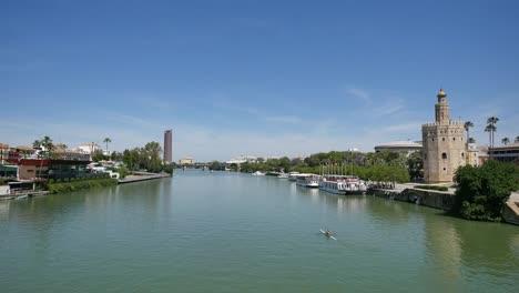 Seville-Torre-Del-Oro-From-Bridge-Over-Guadalquivir-River