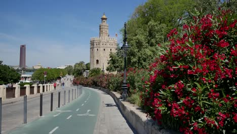 Seville-Torre-Del-Oro-With-Roadway