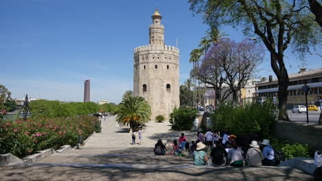 Seville-Torre-Del-Oro-With-Tourists