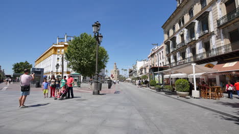 Seville-Buildings-Torre-Del-Oro-At-End-Of-Street