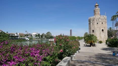 Seville-Flowers-Guadalquivir-River-And-Torre-Del-Oro