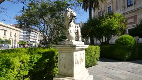 Seville-Park-With-Lion-Statue