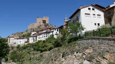Spain-Alcala-De-La-Selva-Town-On-Cliff