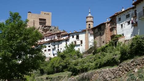 Spain-Alcala-De-La-Selva-View-With-Church-And-Castle