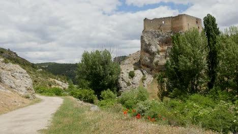 Spain-Alto-Tajo-Castle-On-Rock-With-Road-And-Poppies