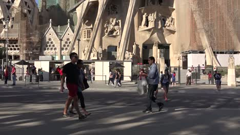 Spain-Barcelona-Sagrada-Familia-Passed-By-Tourists