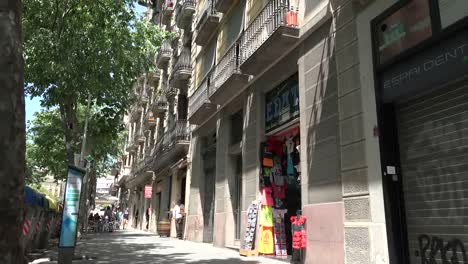 Spain-Barcelona-Street-Scene-With-Balconies