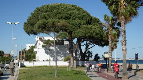 Spain-Cambrils-People-Walking-And-Biking