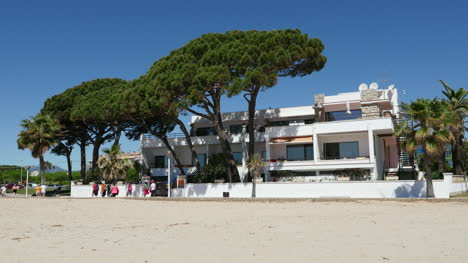 Spain-Cambrils-View-Of-A-Beachside-Inn-With-Pine-Trees