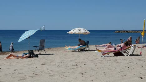 Spain-Cambrils-View-Of-Beach-With-Umbrella