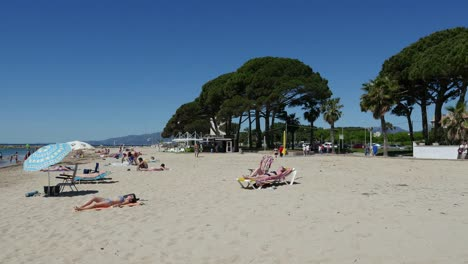Spain-Cambrils-View-Of-Sunbathers-On-Beach