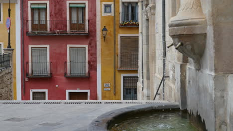 Spain-Cuenca-Fountain-And-Buildings