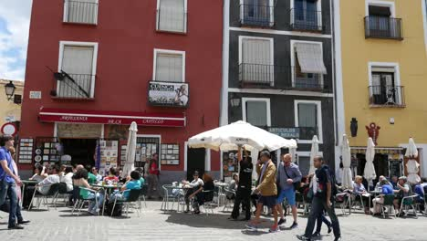 Spain-Cuenca-Main-Plaza-With-Tourists-Slow-Motion
