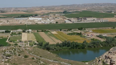 Spain-Ebro-River-Near-Sastago-With-Fields-And-Industry