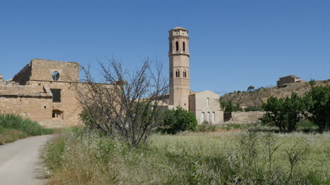 Spain-Monasterio-De-Rueda-Shrub-With-Tower