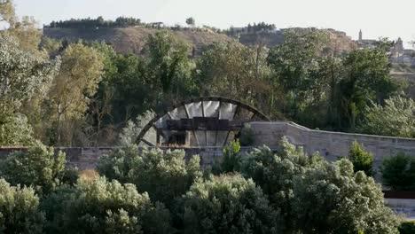 Spain-Monasterio-De-Rueda-Water-Wheel-Amid-Trees