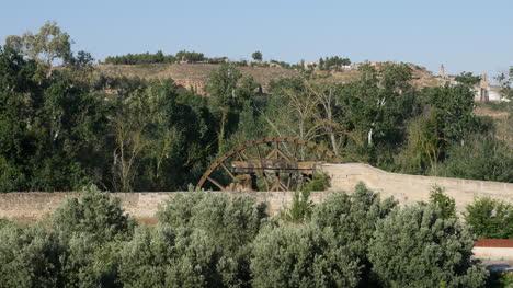 Spain-Monasterio-De-Rueda-Water-Wheel-In-Landscape