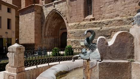 Spain-Mora-De-Rubielos-Fountain-And-Church-Door
