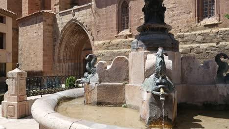 Spain-Mora-De-Rubielos-Fountain-And-Church