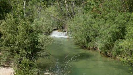 Spain-Serrania-De-Cuenca-Rio-Jucar-With-Small-Waterfall-Sound