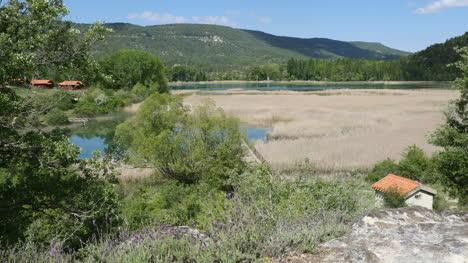 Spain-Serrania-De-Cuenca-Una-Lagoon-With-House
